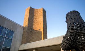 sculpture of Moses in front of Smith Hall