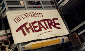 University Theatre sign on building