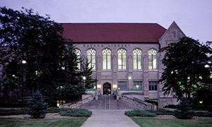 Waton Library, Gothic revival building, at dusk