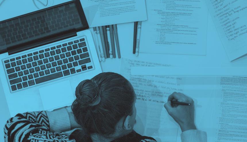 KU student studying