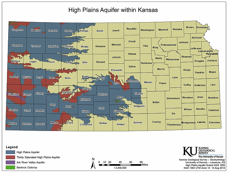 Map of the high plains aquifer in Kansas and areas covered in the new KGS report.