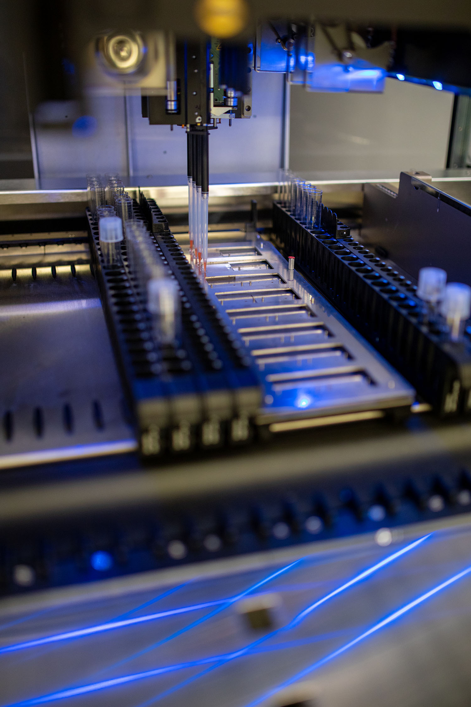 Close-up detail of lab on a chip technology.