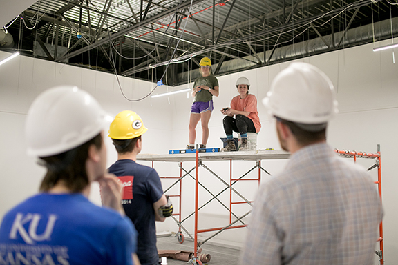 KU students work on a renovation of a portion of Chalmers Hall they designed and then completed as part of the Dirt Works Studio Course in 2016-2017