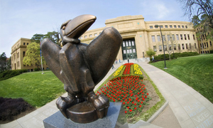 "Sculpture ""Academic Jay,"" with red flowers behind it, in front of Strong Hall,"