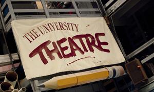 University Theatre sign on building